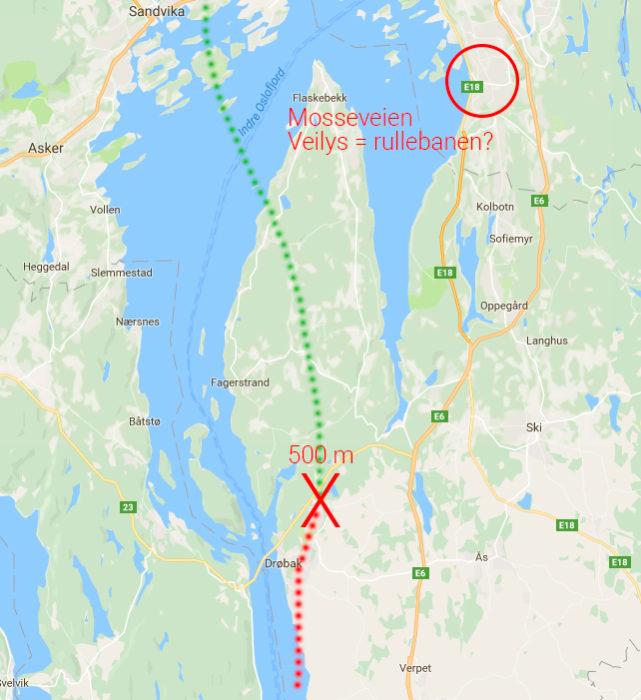 Her var flyet kun 500 meter over bakken - lysene fra Mosseveien trodde pilotene var rullebanen. Kart: Google Maps