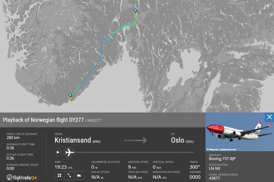 Skjermdump, Flightradar24.com
